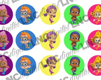 "PRE CUT 1"" Bubble Guppies Bottle Cap Images- 101CAR"