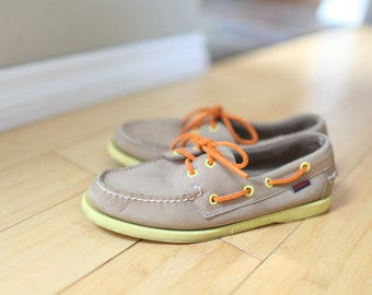 vintage sebago tan suede orange & lime boat shoes womens 7 1/2 *