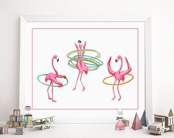Hula hoop pink flamingos print