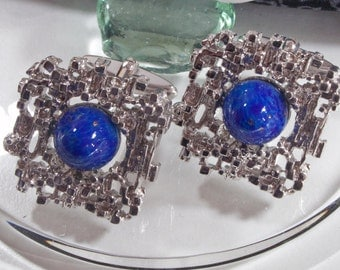 70's vintage cufflinks Lapislazuli optics