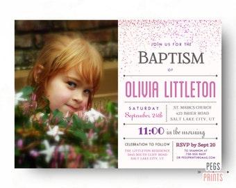 Printable Baptism Invitation LDS - LDS Baptism Invitation Girl - LDS Baptism Invite - Pink Confetti Christening Invitation Girl