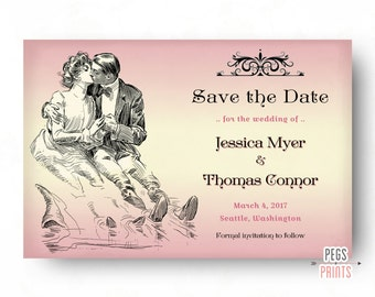 Victorian Save the Date // Victorian Wedding Announcement // Vintage Save the Date // Printable Save the Date Cards // Colors Available