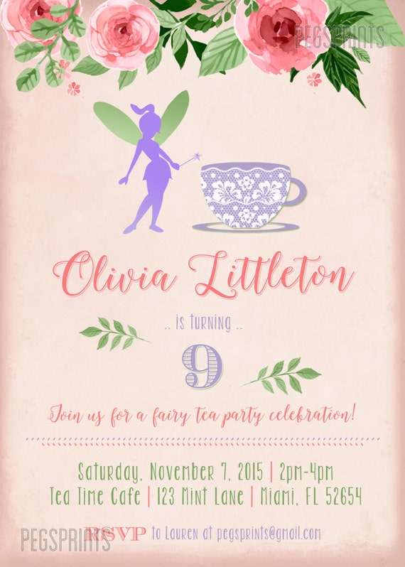 Fairy Tea Party Invitation Fairy Garden Invite Fairy – Fairy Tea Party Invitations