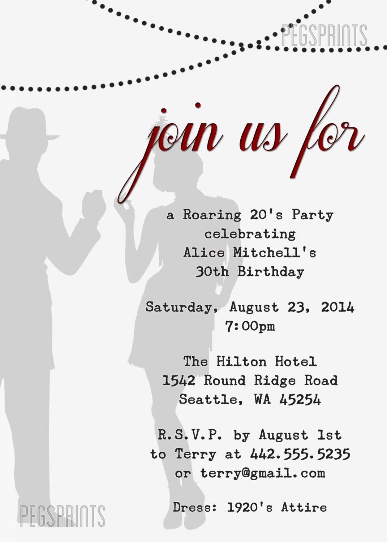Printable 1920s Invitation // Great Gatsby Birthday Invitation ...