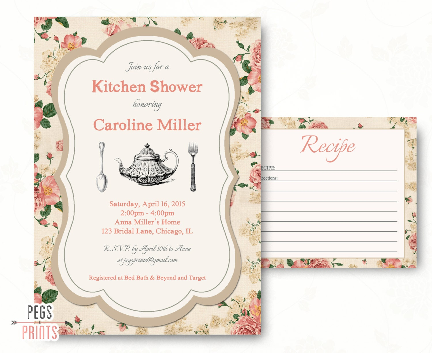 Postcard Wedding Shower Invitations: Kitchen Bridal Shower Invitation And Recipe Card // Printable