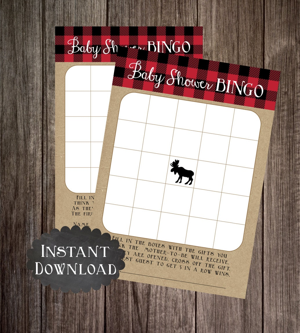 Baby Bingo Printable Moose Baby Shower Game Lumberjack