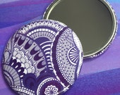 Pocket Mirror, Zen Doodle, Compact Mirror, Illustration, Purple Patterned Zen tangle, Intricate Doodle, Handbag and Makeup Accessories