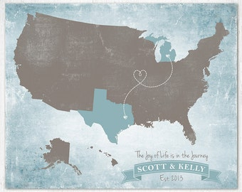 """Custom Map, Travel map, United States Map, Long Distance Relationship Gift, Family map, Sizes 5""""x7"""" up to 30"""" x 40"""""""