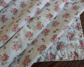 Tablecloth Handmade Cotton Vintage //  Pretty Embroidery Finishes all Edges  //  Shabby Chic Table Decor ROSES  // Cottage Decor