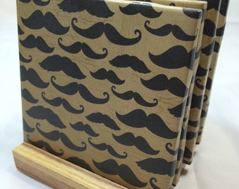 """HANDMADE """"Vintage Mustache"""" Drink Coasters 