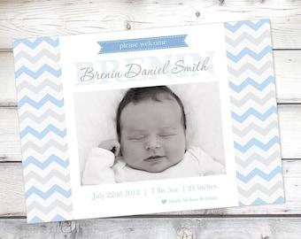 Baby Boy Birth Announcement, Chevron birth announcement, Baby Announcement, Photo announcement, New baby, baby boy card, Photo card, 5x7