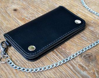 Black leather Biker wallet, Motorcycle wallet, Mens long wallet, Trucker wallet, MEDIUM SIZE, hand stitched.