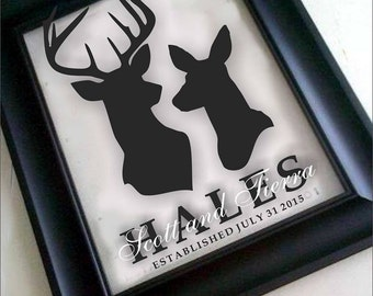 """Custom """"Stag & Doe"""" Family Name Frame - Perfect Wedding, Anniversary, Engagement Gift - Great Prop signs for Wedding/Engagement Photos"""