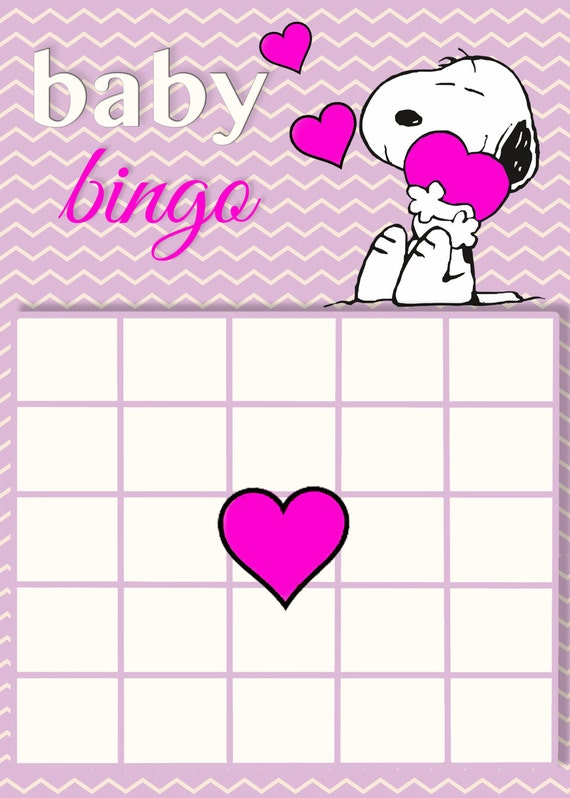 snoopy baby shower bingo card printable instant download