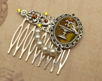 Antique brown hair comb in silver with birdbath genuine pearl polymer clay