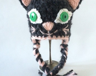 Crochet Ear Flap Hat Baby- Mohair Kitty Cat size newborn