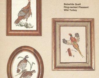 Wildlife Sampler Cross Stitch Pattern - Bobwhite Quail, Ring-necked Pheasant, Wild Turkey - North American Wildlife