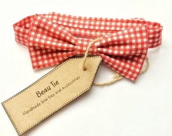 Baby boys bow tie, baby bow tie, red bow tie, gingham bow tie, cotton bow tie