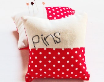 Personalised Pin Cushion - Red Spotty