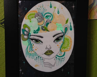 Green Zendoodle Girl; original illustration