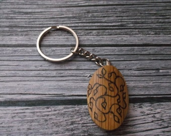 Tree of Life Key Ring - Tree of Life Key Ring on Oak Wood