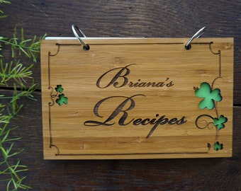 Personalized Clover Recipes Book Bridal Shower Gift Housewarming Hostess Present Holiday Stocking Stuffer Under 20 Gift