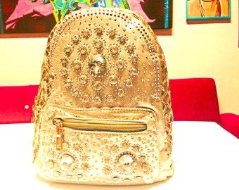 Mini Gold Embellished Backpack