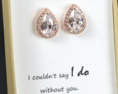 Rose gold Bridesmaids Earrings,Personalized Bridesmaids Gift,Crystal Stud Earrings, Bridesmaids Studs, Bridesmaids Gifts, Bridal Party Gift