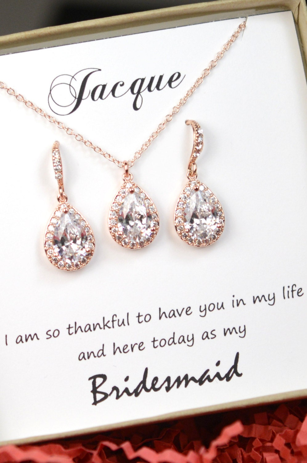 Etsy Wedding Gift Jewelry : Personalized Bridesmaid Gift Rose Gold Bridesmaid Earrings