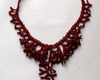 Deep Red Necklace.  Bridal Necklace. Wedding Necklace.Gift For Her.. Beadwork.