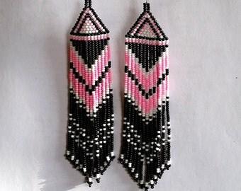 Beaded Native American Earrings  Inspired. White Black Pink Earrings.Long Earrings.  Beadwork.