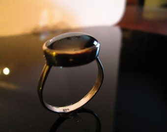 Hematite Ring in Sterling Silver with Forged Sterling Band
