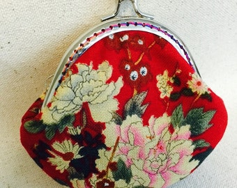 Coin Purse/Bag-Peony Flowers-Cotton Fabric with Metal Frame