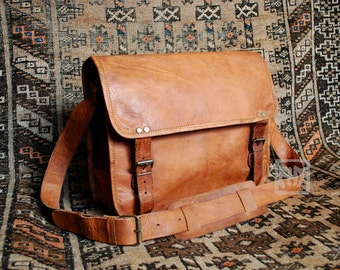 "FHT Camel Leather Messenger Bag Shoulder Satchel 10""x14"" Half Flap"