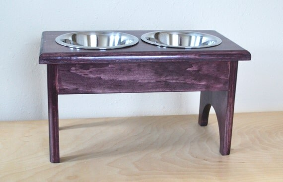 Dog Feeder Raised Handcrafted Wood Table Elevated 8