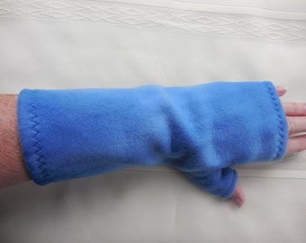 Blue Fleece Gauntlet style Fingerless Gloves, in Varied Blues, partially covered thumb, texting, ONE PAIR, driving, cellphone, size A Med