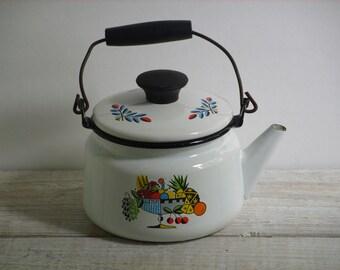 Vintage Enamel Kettle ~ Black & White Tea Pot ~ Retro Coffee Kitchen ~ B3