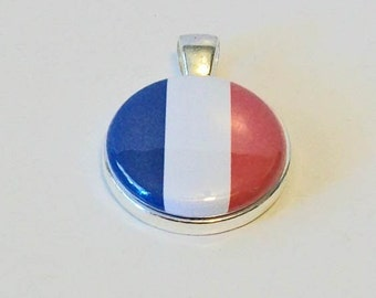 Elegant French Flag Red White and Blue Paris Round Silver Pendant