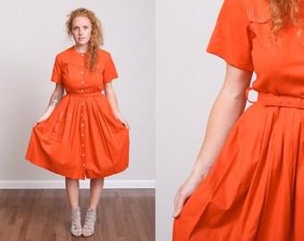 1950s Orange Vintage Mad Men Style Cotton Button-Down House Dress w/Belt and Pockets, size M