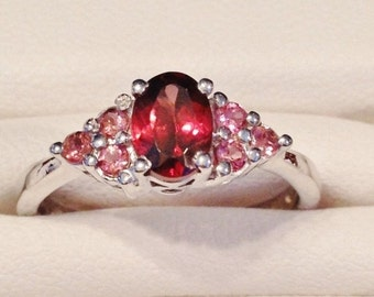 ON SALE - Red Zircon and Pink Sapphire Sterling Ring - Size 8