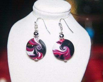 Hand crafted black, pink and  white swirl earrings