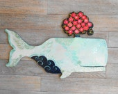 Amandine Whale Wooden Wall Sculpture by Kimberly Hodges, wood whale, whale art, wood sculpture, blue whale