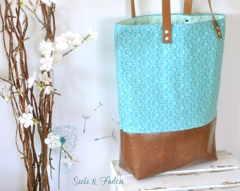 LIVA - the small shopper / small birds on turquoise