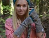 Wool Fingerless Gloves - Merino Wool fingerless - Grey and Teal Fingerless Gloves