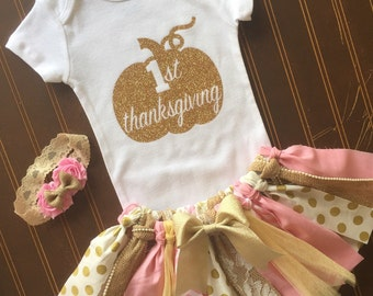 Pink and Gold Tutu Set - Gold Onsie - Fall baby outfit 1st Birthday Outfit - Baby Girl Tutu - Thanksgiving Outfit - Pumpkin Tutu - 1st Fall