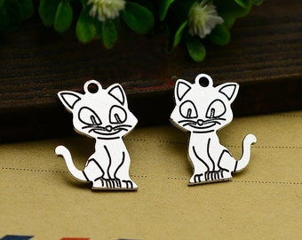 20pcs 25x17mm Antique Silver cat Charms Pendants