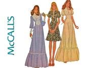 Vintage 70s Bohemian Maxi Dress Pattern / Drop Waist Ruffled Prairie Dress Juliet Sleeves / 1970s Boho Womens Sewing Patterns McCalls 4381
