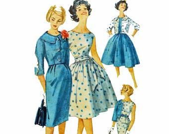 50s Dress Patterns / Full Skirt or Slim Fit Wiggle Skirt Dress / Bateau Neckline & Cropped Jacket Vintage Sewing Patterns Simplicity 3340