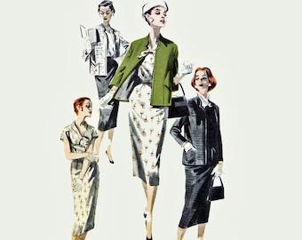 Vintage 50s Dress Patterns / 50s Pencil Skirt Pattern & Box Jacket Patterns for Women / Butterick 8049 Bust 36 1950s Vintage Sewing Patterns