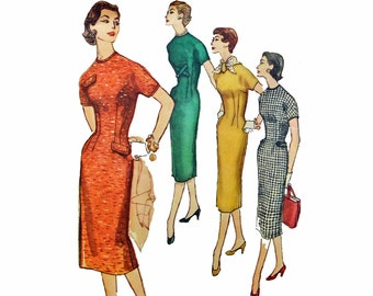 50s Dress Pattern / Slim Fit Wiggle Dress Womens Sewing Patterns / Simplicity 1682 Bust 36 Kimono Sleeve Dress 1950s Vintage Sewing Patterns